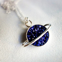 The Cosmos Collection- Saturn Pendant with Blue Drusy