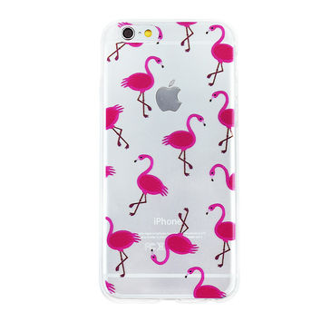 Flamingo Collage Dense Soft Silicone TPU Clear Transparent Phone Back Case Cover for iPhone 5 5s 6 6s 7 7 Plus