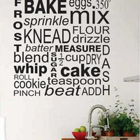 Vinyl Wall Lettering Kitchen Baker Subway Art Baking Collage Words 2 foot Decal