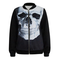 Color Printed womens Blazer jackets Skull Bone Printing female coat Zipper