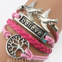 wish treen,believe,&lovely bird charm Bracelet Antique silver--wax cords braid leather bracelet--special gift for someone you love 748