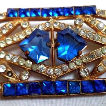 "Art Deco Brooch Pin Blue & Clear Rhinestones Geometric Design Made in France Signed 2"" Vintage"