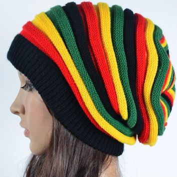 Free Shipping  2018 Winter Hip Hop Bob Marley Jamaican Rasta  Reggae Multi-colour Striped Beanie Hats For Mens Women