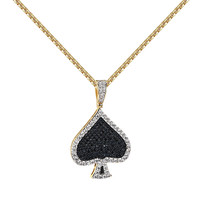 Playing Cards Spades Pendant Black Simulated Diamonds Iced Out 14k Gold Tone Chain