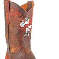 Gameday U Of Georgia Ladies Leather Boots - Brass