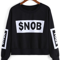 Black Round Neck SNOB Print Crop Sweatshirt