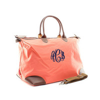 Monogrammed Longchamp Inspired Coral Weekender Carry On Bag