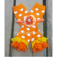 Candy Corn Leg Warmers, Halloween Leg warmers, Fall leg Warmers, Baby Girl, Trick or Treat, Polka Dot, Orange, White, Headband, Lace