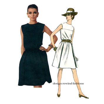 1960s Vogue MOD DRESS PATTERN Sleeveless Cocktail Dress Pattern Vogue 1783 Americana Chester Weinberg Bust 32 Vintage Womens Sewing Patterns