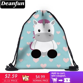 Deanfun Unicorn Drawstring Bags 3D Printed Cute Girls School Bags 60062