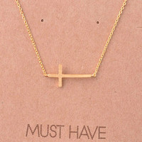 Sideways Cross Necklace-Available in Gold & Silver