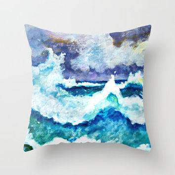 Stormy Sea Throw Pillow by gretzky | Society6