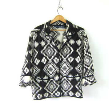 Vintage Cropped Ikat Jacket. Southwestern Navajo blanket coat. Tribal Blazer. cotton blazer. women's black and white coat