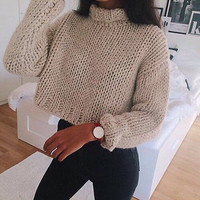 New Womens Winter Warm Casual Loose Long Sleeve Hot Sexy Short Knitted Sweater Crop Tops