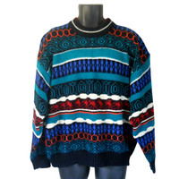 80s Sweater Men Pullover Sweater XL Sweater Crew Neck Sweater Knit Sweater Men Hipster Sweater Men XL Shirt Funky Sweater Teal Sweater Shirt