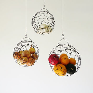 Hanging Wire Fruit or Vegetable Sphere Basket Set