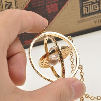 harry potter time turner necklace hermione granger rotating spins gold hourglass gift box  number 1