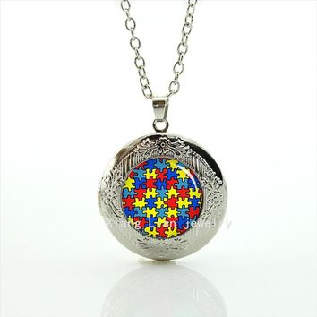 Autism Awareness Character Locket Necklace Heart Fashion Wedding Jewelry For Women