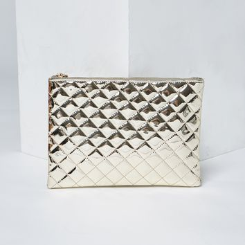 Mirror Quilted Metallic Clutch
