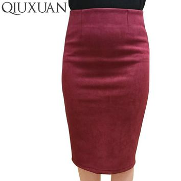 Elegant Women Skirts 2017 Spring Fashion Faux Suede Female High Waist Thicken Stretchy Pencil Skirts Bodycon Knee Length Skirts
