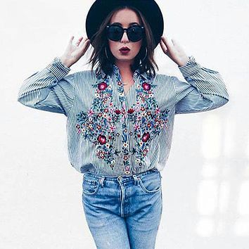 Women Floral Embroidered Casual Blouse Autumn Long Sleeve Striped Shirt Floral Tops 2018 Fashion