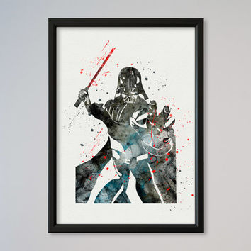 Star Wars Darth Vader Poster Watercolor Print Wall Decor Fine Art Giclee Print Poster Home Wall Hanging Star Wars Fans gift Lord Vader