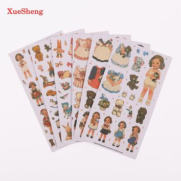6 PCS/Pack New Cute Creative Stickers Paper Girl Combination Paper Doll Mate Diary Notebook Label Stationery Sticker