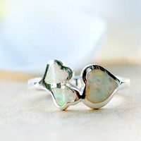 Hearts Opal Ring,Stone Ring,October birthstone,statement ring,agate ring,Gemstone ring,geode ring,Delicate ring,dainty ring,opal,silver