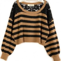 Round Neck Mixed color long sleeve lace stitching pullover  Striped Pop  style zz918018 in  Indressme
