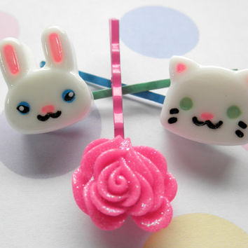 Kitty, Bunny and Flower Resin Hairpins - Set of 3