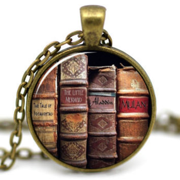 Book Necklace, Antique Book Necklace, Writer Necklace, Gift for Writer Teacher, Library Book Necklace, Book Pendant, Book Jewelry #2