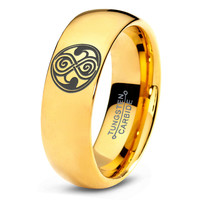 Dr Who Ring Doctor Time Lord Design Gallifrey Symbol Ring Mens Fanatic Geek Sci Fi Jewelry Boys Girl Womens Ring Fathers Day Gift Holiday Tungsten Carbide 287