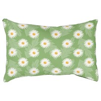 Summer Daisy Flowers Pattern On Green Pet Bed