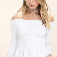 Sunny Side White Off-the-Shoulder Top