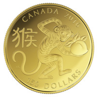 18-karat Gold Coin – Year of the Monkey – Mintage: 2,500 (2016)