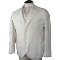 1920s Mens Linen Blazer and Vest Belfast Crash Exclusive Linen Importations
