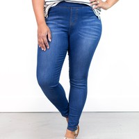 Adeline Classic Washed Jeggings | Plus Size