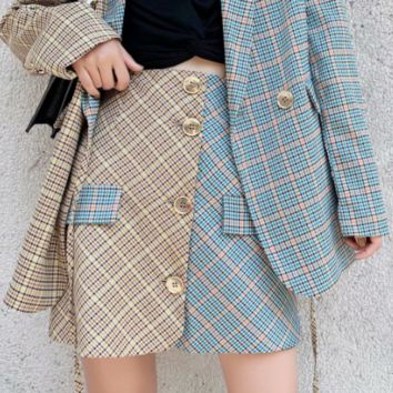 Autumn plaid yin and yang color skirt skirt