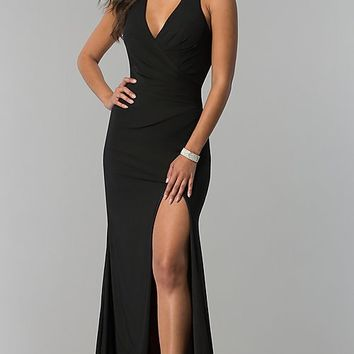 Long Jersey Prom Dress with Open Back by Zoey Grey