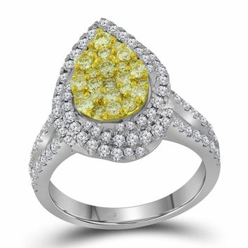 14kt White Gold Womens Round Canary Yellow Diamond Teardrop Cluster Bridal Wedding Engagement Ring 1-1/4 Cttw