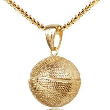 3D Basketball Pendant Necklace Stainless Steel Chain Golden State Warriors Fan Necklace Women Men Sport Hip Hop Jewelry