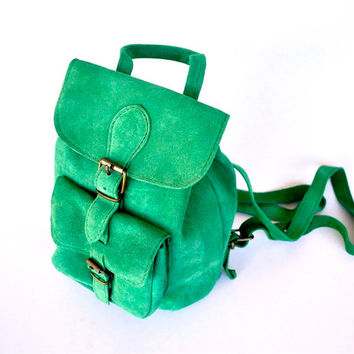 Suede Green Leather Backpack