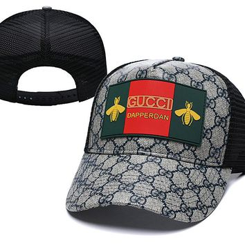 Gray Gucci Nylon Baseball Cap Unisex Honeybee Hat Summer Gift