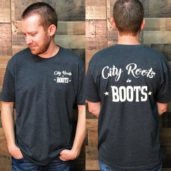 """City Roots in Boots"" Charcoal Logo Tee"