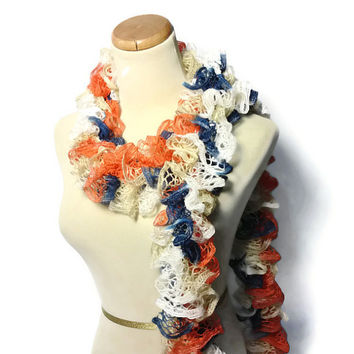 Hand Knit Scarf Ruffle Scarf Orange Bllue White