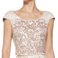 Women's Cap-Sleeve Beaded Cropped Top - Kay Unger New York - Ivory gold