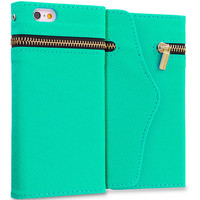 Mint Green Zipper Wallet Case Cover Pouch for Apple iPhone 6 Plus (5.5)