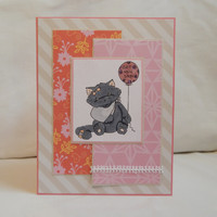 Get Well Card, Paper Handmade Greeting Card, Get Well Soon, Get Better, Blank Card, Card Shop, Thinking of You, For Her, Female Card, Cat