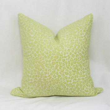 "Green cheetah decorative throw pillow cover. 20"" x 20"" pillow cover. Golding Spots chenille jacquard pillow cover."