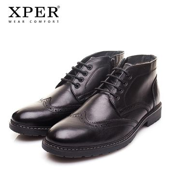 XPER Brand New Genuine Leather Men Boots Fashion Cow Leather Men Shoes Solid Black Warm Plush Men Winter Shoes XYWD22761BL